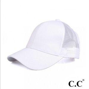 White Ponytail Baseball Cap with Mesh Back